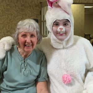 Easter Bunny with lady senior