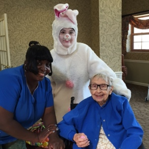 Easter Bunny with nurse senior
