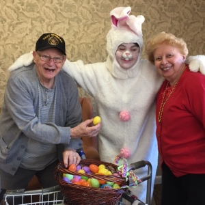 Easter Bunny with two seniors 1